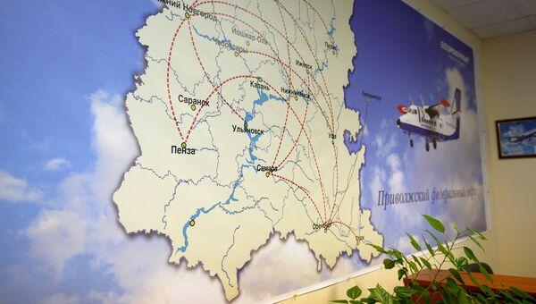Карта с маршрутами полетов по Приволжскому федеральному округу в аэропорту Орска