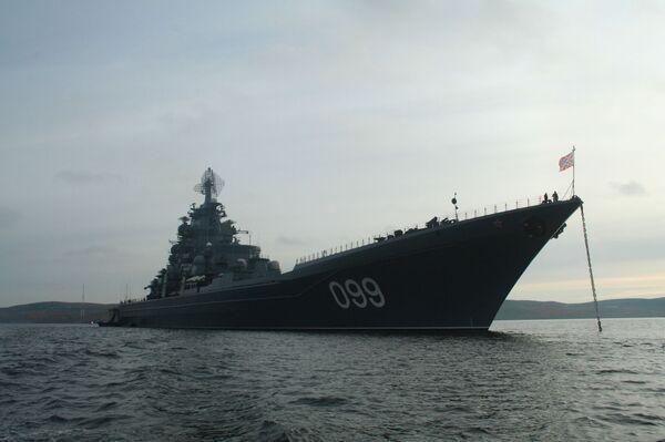 Флагман Северного флота, атомный ракетный крейсер Петр Великий. Архив