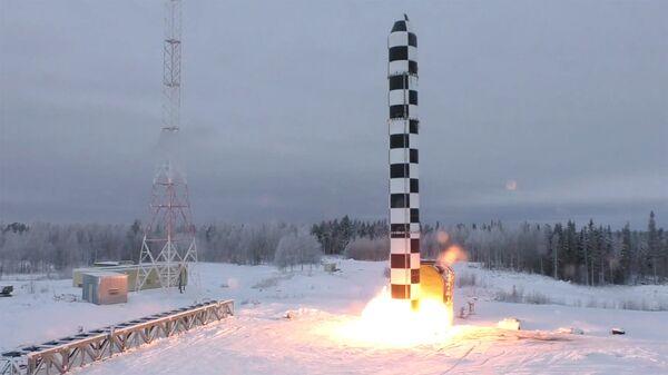 Демонстрация испытаний ракетного комплекса стратегического назначения Сармат во время послания президента РФ Владимира Путина Федеральному собранию. Архивное фото