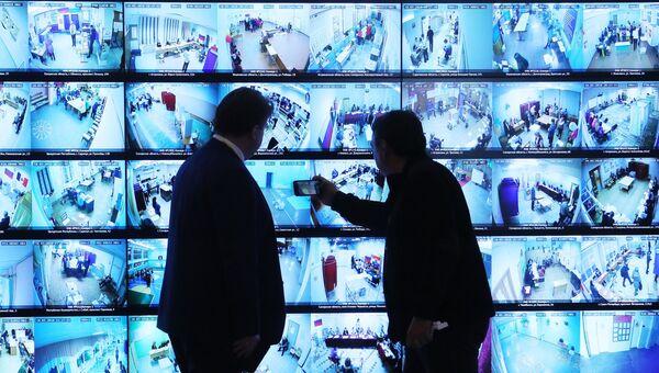 Экраны в информационном центре Центральной избирательной комиссии РФ