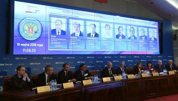Предварительные результаты голосования на выборах президента РФ на экране. Архивное фото