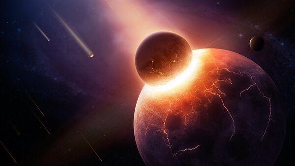 Основная версия гласит, что Луна появилась вследствие столкновения Тейи с Землей