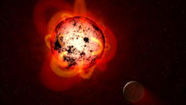 Так художник представил себе планету на орбите у красного карлика