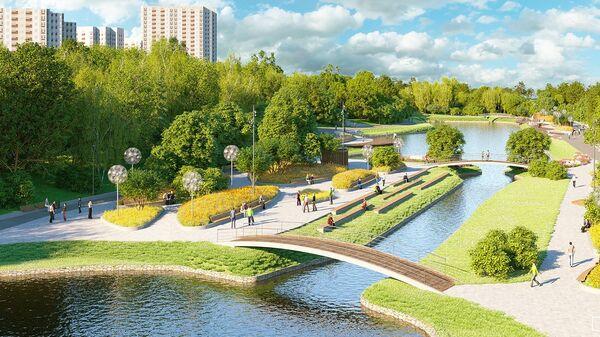 Проектное решение парка в пойме реки Битцы