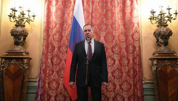 Министр иностранных дел РФ Сергей Лавров после встречи с министром иностранных дел КНДР Ли Ён Хо. 10 апреля 2018