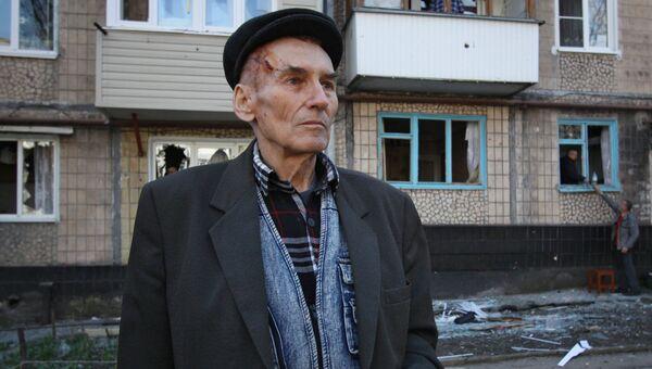 Житель Куйбышевского района, пострадавший в результате обстрела Донецка. 11 апреля 2018