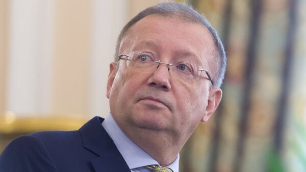 Посол РФ в Великобритании Александр Яковенко во время пресс-конференции в Лондоне