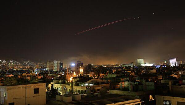 Зенитный огонь над Дамаском, Сирия. 13 апреля 2018