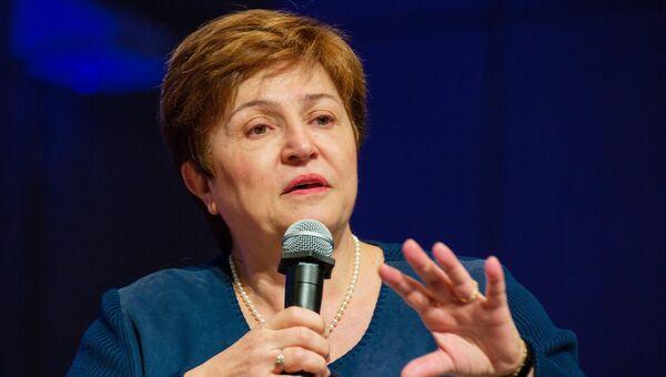 Главный исполнительный директор Всемирного банка Кристалина Георгиева на встрече министров финансов и председателей Центробанков G20. 19 апреля 2018