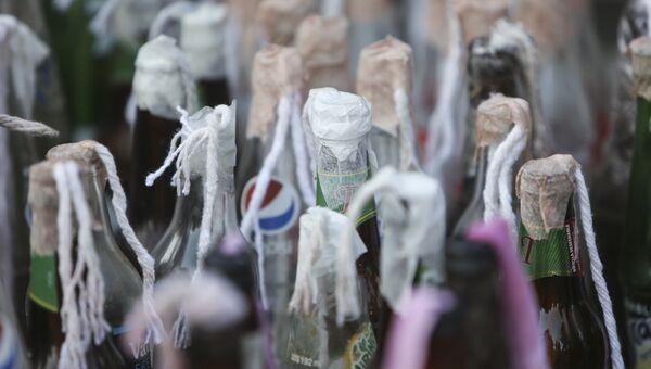 Бутылки с зажигательной смесью, приготовленные для протестов против правительства Даниэля Ортега, в Манагуа, Никарагуа. Архивное фото