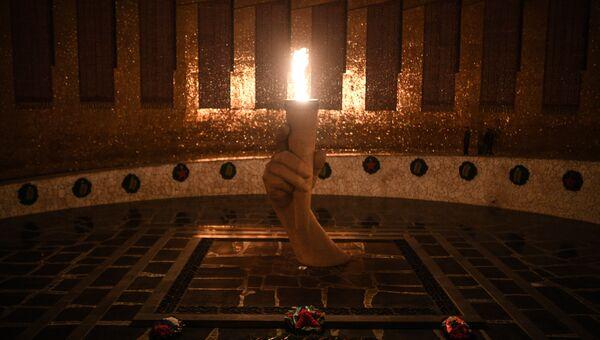Вечный огонь в Зале воинской славы на Мамаевом кургане в Волгограде