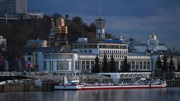 Вид на речной вокзал в Нижнем Новгороде. Архивное фото