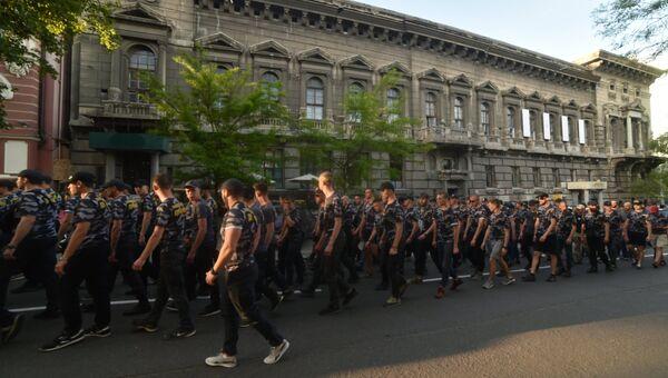 Участники марша националистов, приуроченного к четвёртой годовщине событий 2 мая 2014 года в Доме профсоюзов в Одессе. 2 мая 2018