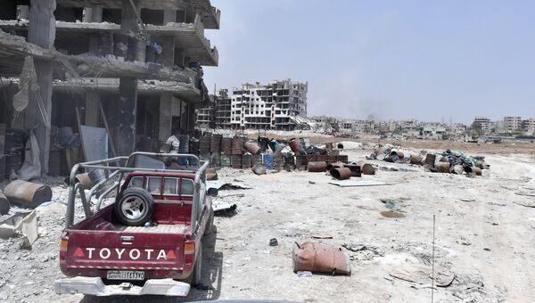 Одна из улиц в районе бывшего лагеря палестинских беженцев Ярмук в южном пригороде Дамаска. 4 мая 2018