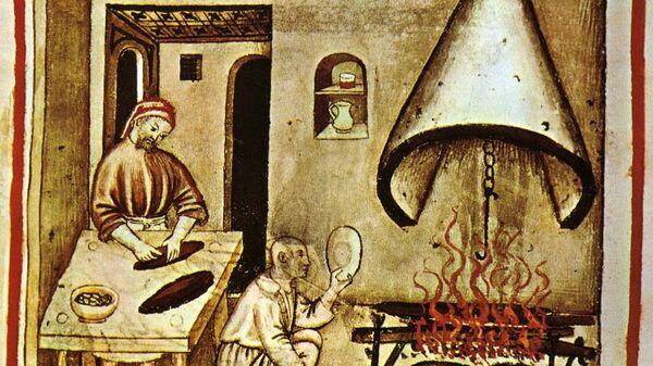 Жарка на вертеле (XIV век)