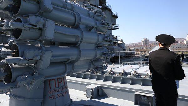 Установка Калибр на фрегате ВМС России. Архивное фото