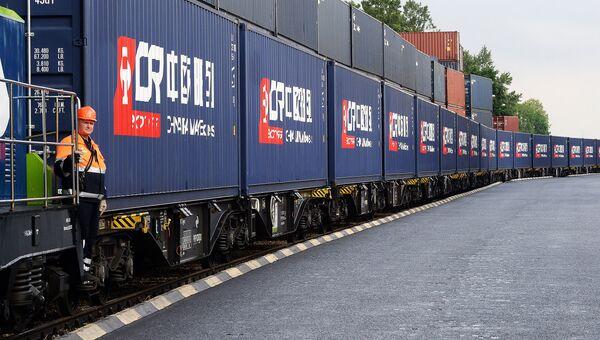Китайский железнодорожный состав, прибывший из Чэнду в Варшаву. Архивное фото