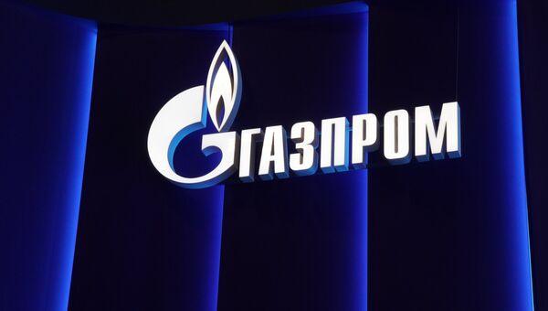 Логотип компании Газпром на Петербургском международном экономическом форуме