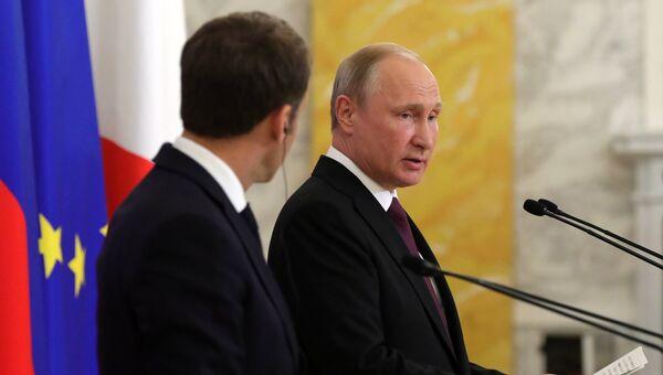 Президент РФ Владимир Путин на пресс-конференции по итогам встречи с президентом Франции Эммануэлем Макроном. 24 мая 2018