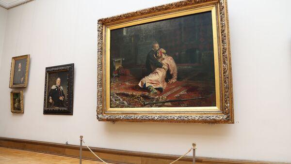 Картина Ильи Репина Иван Грозный убивает своего сына в Третьяковской галерее в Москве