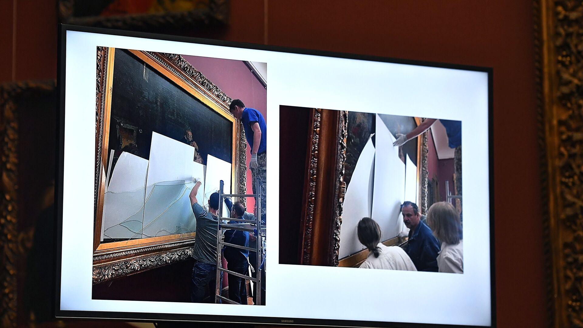 Брифинг по поводу повреждения картины И. Репина в Третьяковской галерее - РИА Новости, 1920, 27.03.2021