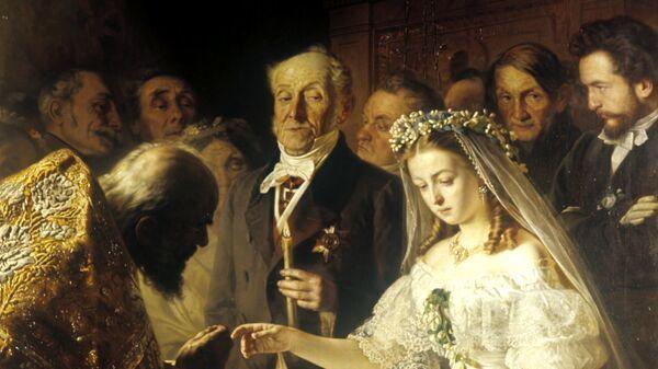 Репродукция картины В.В. Пукирева Неравный брак. 1862 год. Государственная Третьяковская галерея