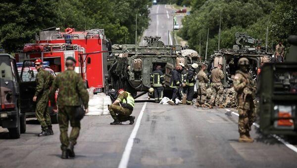 Место столкновения бронетранспортеров Stryker в Литве. 7 июня 2018