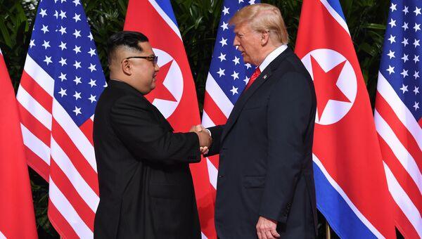 Рукопожатие Трампа и Ким Чен Ына 12.06.2018