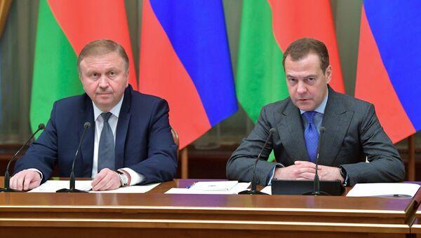 Дмитрий Медведев и премьер-министр Белоруссии Андрей Кобяков проводят заседание Совета министров Союзного государства России и Белоруссии. 13 июня 2018
