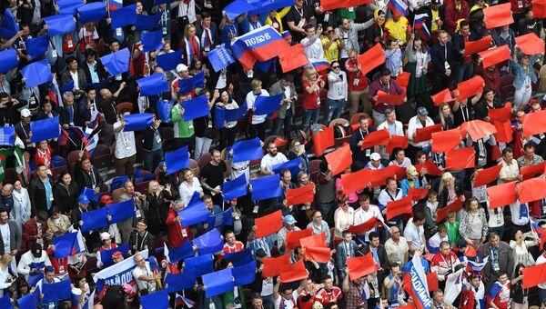 Болельщики во время церемонии открытия чемпионата мира по футболу 2018 на стадионе Лужники