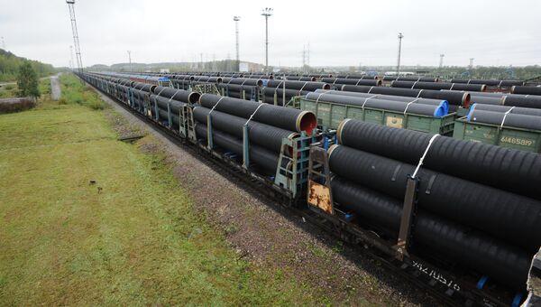 Отгрузка труб для строительства трубопровода Северный поток-2 на заводе OMK в Выксе