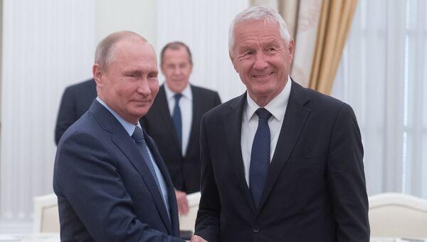 Владимир Путин и генеральный секретарь Совета Европы Турбьерн Ягланд во время встречи. 20 июня 2018