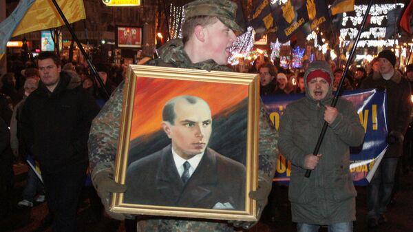Факельное шествие националистов в честь дня рождения Бандеры