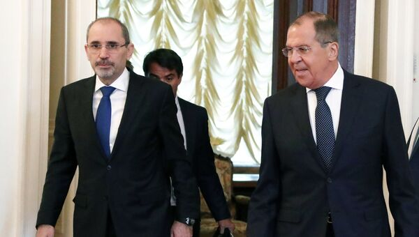 Сергей Лавров и глава МИД Иордании Айман Хусейн Абдалла ас-Сафади во время переговоров. 4 июля 2018
