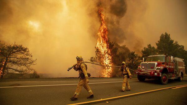 Пожарные тушат лесной пожар в штате Калифорния. Архивное фото
