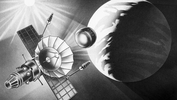 Изображение советской автоматической межпланетной станции  Венера-9 и спускаемого аппарата