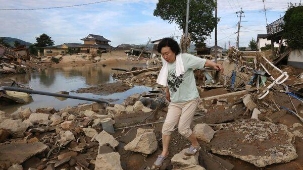 Последствия ливневых дождей в Курасиках, префектура Окаяма, Япония