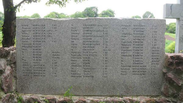 Мемориальная доска с именами поляков убитых на Волыне