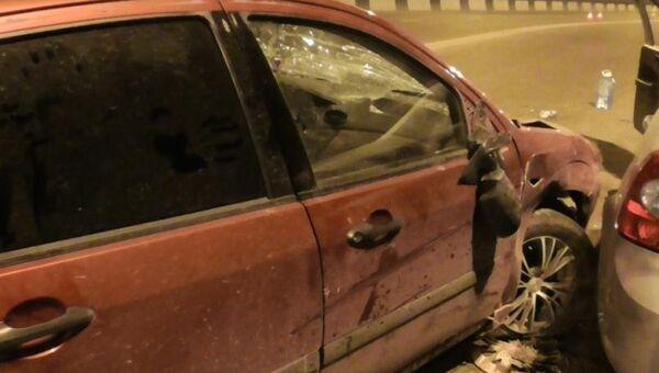Последствия ДТП с наездом на сотрудников полиции на мосту чрез реку Иркут в Иркутской области. 29 июля 2018