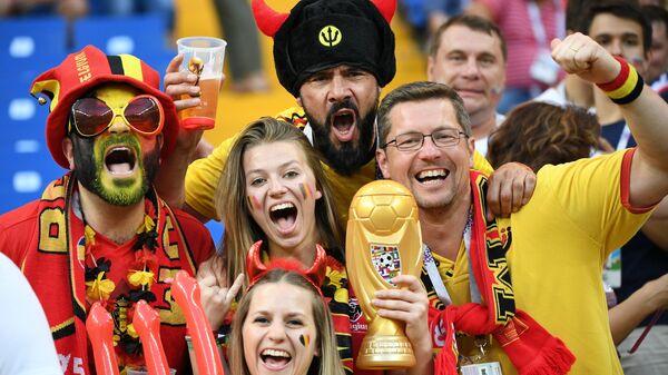 Болельщики сборной Бельгии перед матчем 1/8 финала чемпионата мира по футболу между сборными Бельгии и Японии