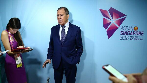 Министр иностранных дел России Сергей Лаврова на пресс-конференции по итогам Совещания министров иностранных дел Россия-АСЕАН, Сингапур, 2 августа 2018 года