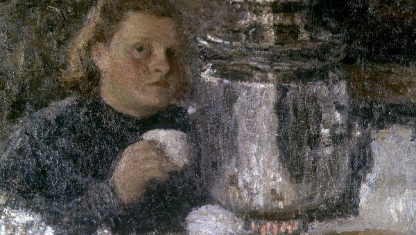 Репродукция картины художника Игоря Грабаря За самоваром, 1905