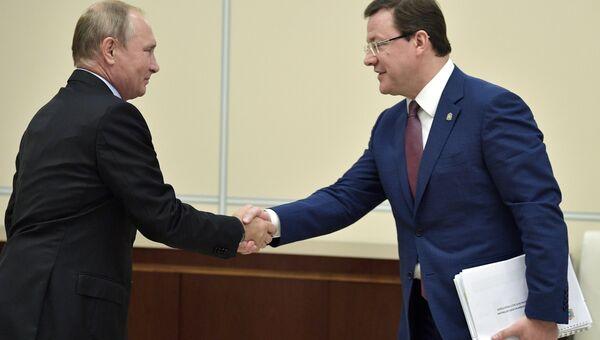 Президент РФ В. Путин провел встречу с врио губернатора Самарской области Д. Азаровым