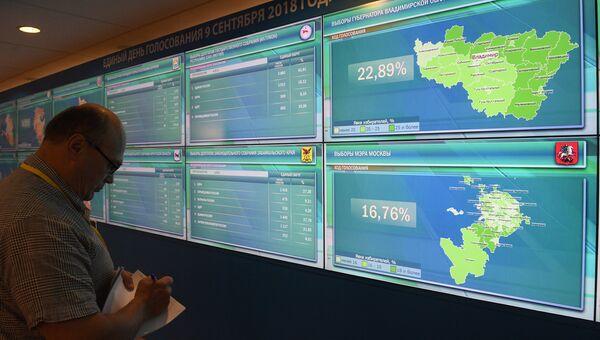 Предварительные результаты выборов в регионах России на инфоэкранах в Информационном центре ЦИК России. 9 сентября 2018