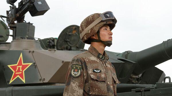 Участник парада военных маневров Восток-2018 на забайкальском полигоне Цугол