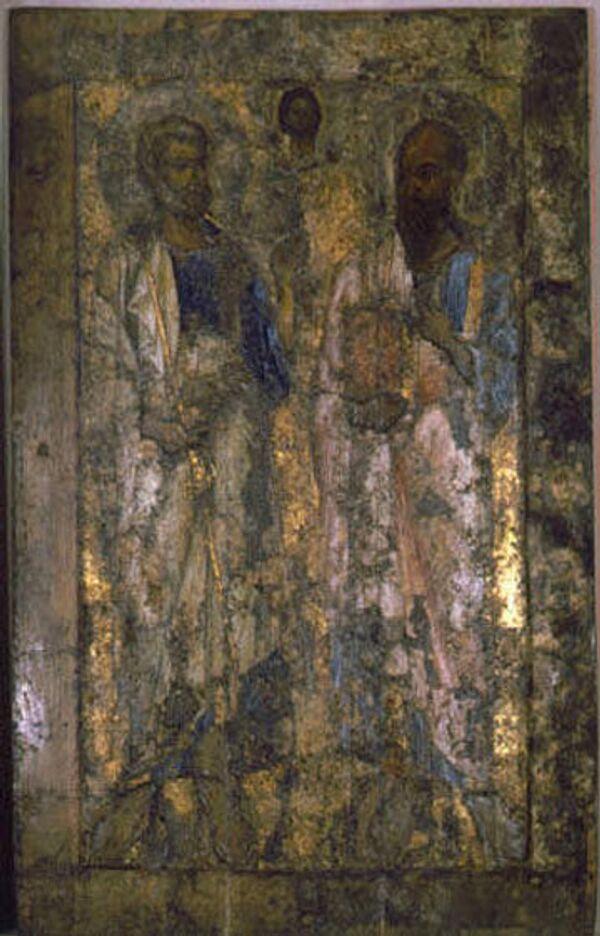 Икона Апостолы Петр и Павел до реставрации. Конец XI в. Из Софийского собора
