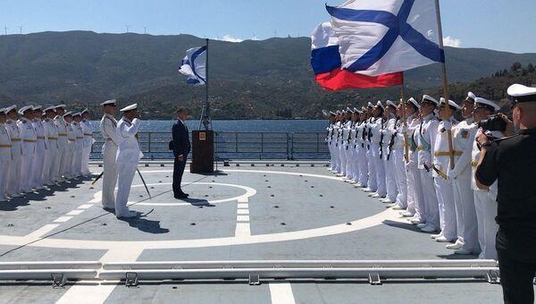 Команда на борту сторожевого корабля Черноморского флота ВМФ РФ Адмирал Эссен. Архивное фото