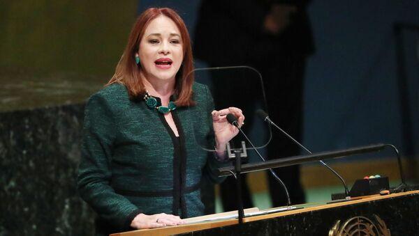 Президент 73-й Генассамблеи ООН Мария Эспиноса Гарсес во время выступления. 25 сентября 2018