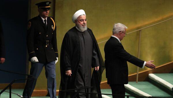 Президент Ирана Хасан Роухани на 73-ей сессии Генассамблеи ООН в Нью-Йорке. 25 сентября 2018