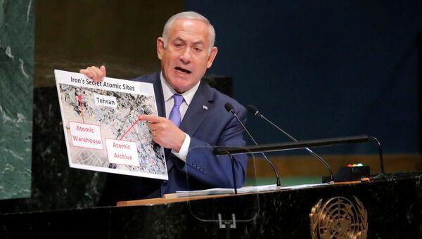 Премьер-министр Израиля Биньямин Нетаньяху выступает на Генассамблее ООН в Нью-Йорке. 27 сентября 2018
